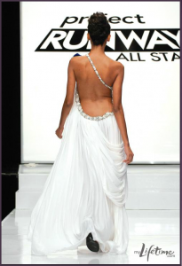 Michael Costello Project Runway White Grecian Dress