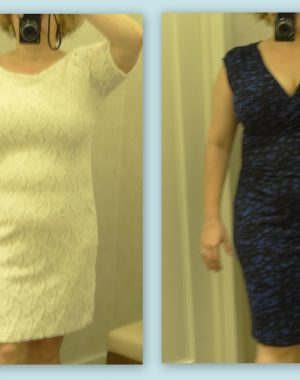 two dresses from ann taylor that work well on busty hourglass
