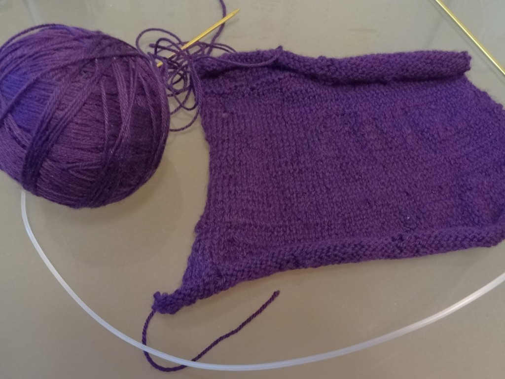 swatch for my busty sweater project