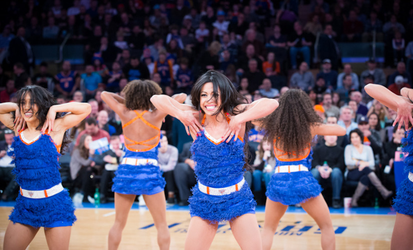 large breasts can't dance in this Knicks City Dancer uniform
