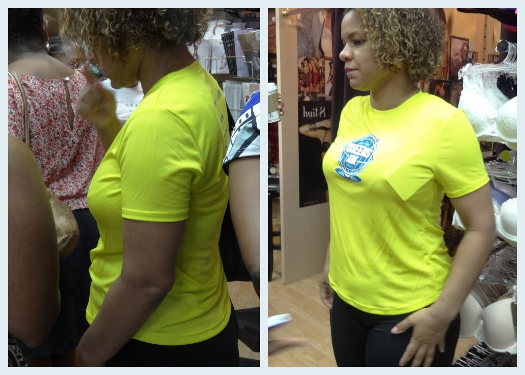 yellow shirt before and aft