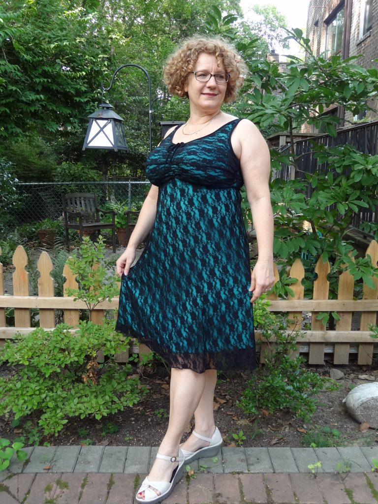 D Cup dress with lace overlay