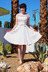 """Alika Circle Dress"" in off white from Bettie Page Clothing."
