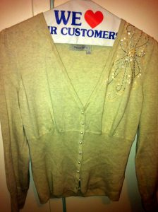 big bust pepperberry tan cardi