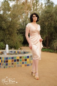 """Ava"" dress in blush from Pin Up Girl Clothing."
