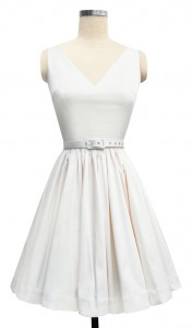 """Ballerina Mini Dress"" in ivory satin from Trashy Diva."