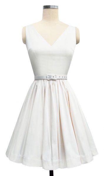 """Ballerina Mini Dress"" in ivory satin from Trashy Diva."