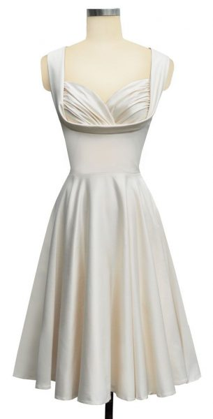 """Honey"" dress in antique white satin from Trashy Diva."