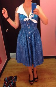 Next I tried the same polka dot dress in teal, and it actually fit quite a bit better even though it's the same size.