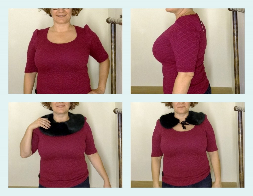 anthro knit top and fur collar