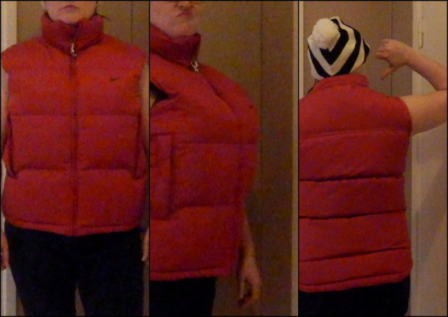 Nike puffy vest, HORRIBLE fit on a bustier woman.