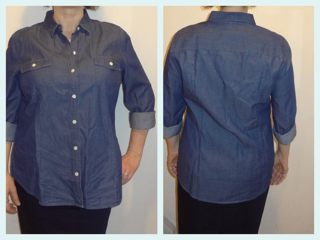 big bust fitting chambray shirt front and back