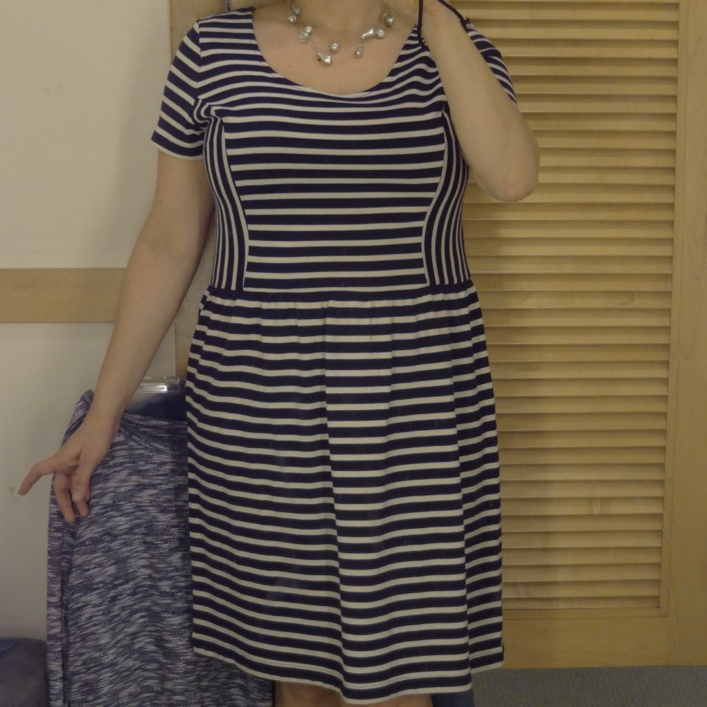 striped panel dress front