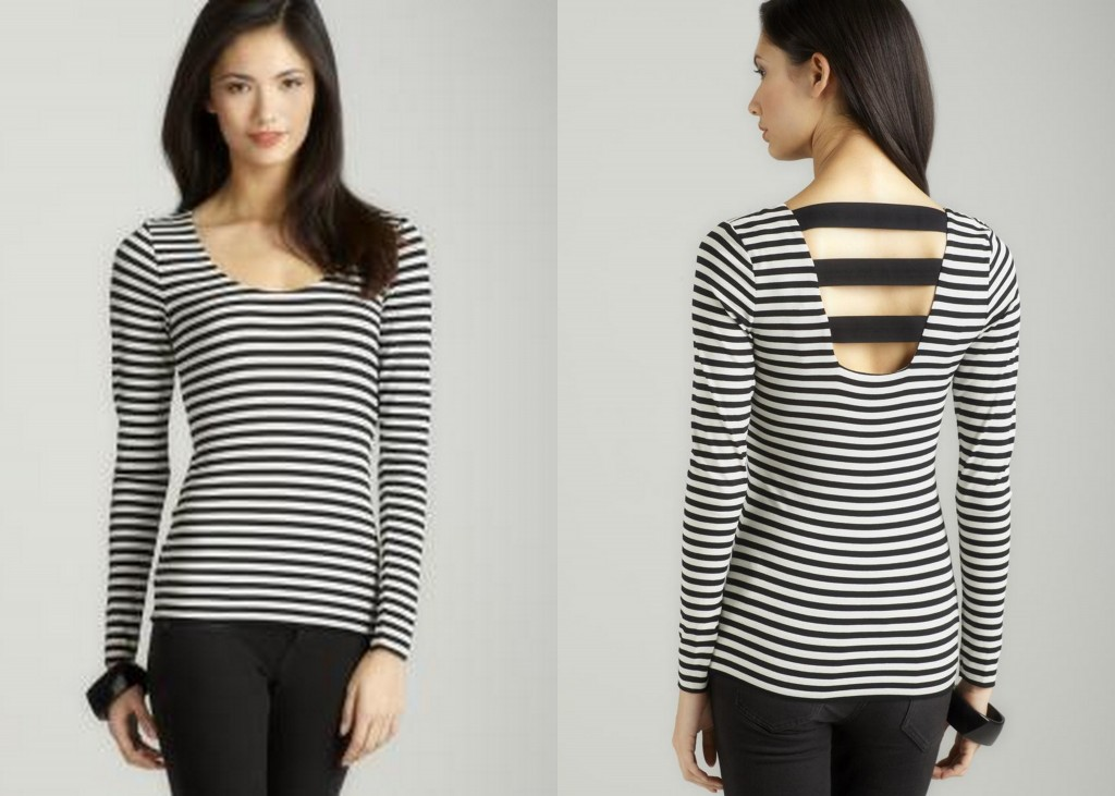 vince camuto striped scoop neck tee