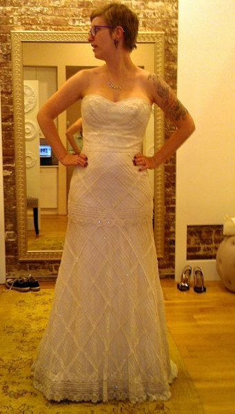 "This was the shape I initially thought I wanted. This particular dress was very pretty and immediately shot to the top of the list of ""maybes."" It has subtle sparkly beading on all those lines. It's maybe not doing my body any favors, though."