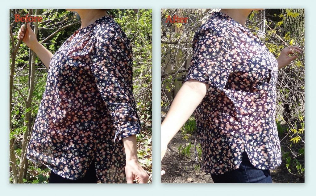 full bust alteration henley side before and after