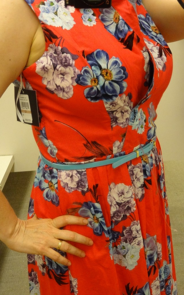 ellen tracy red dress bodice detail closeup