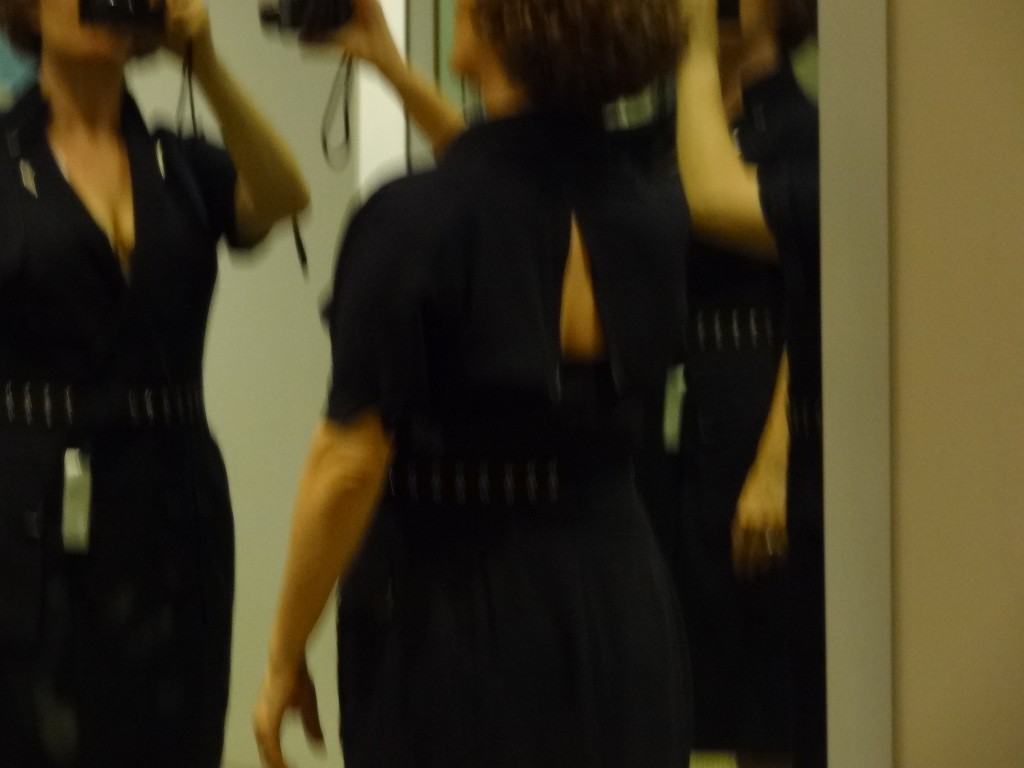 blurry front and back of navy backless shirt dress
