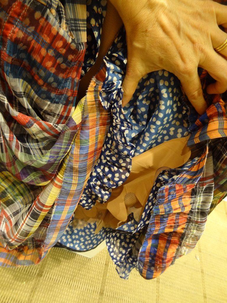 closeup of details under flouncy skirt