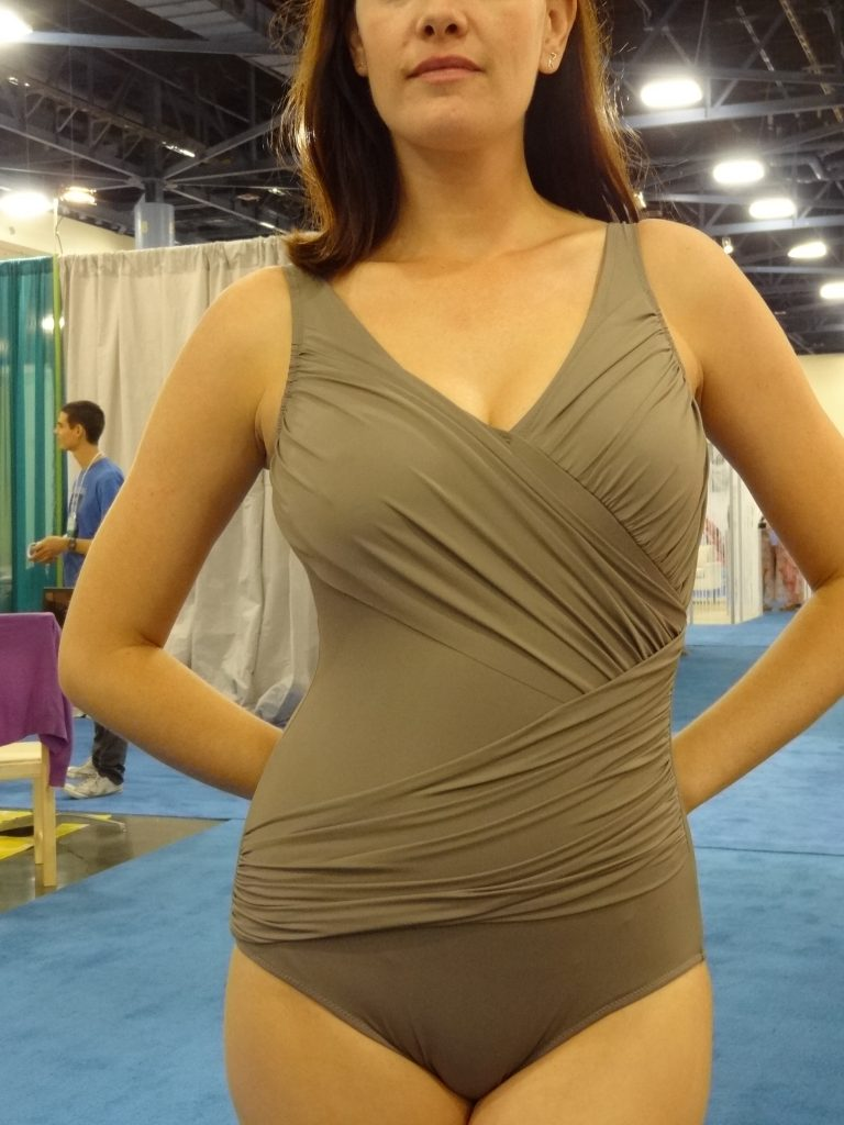 janine robin taupe drape one piece