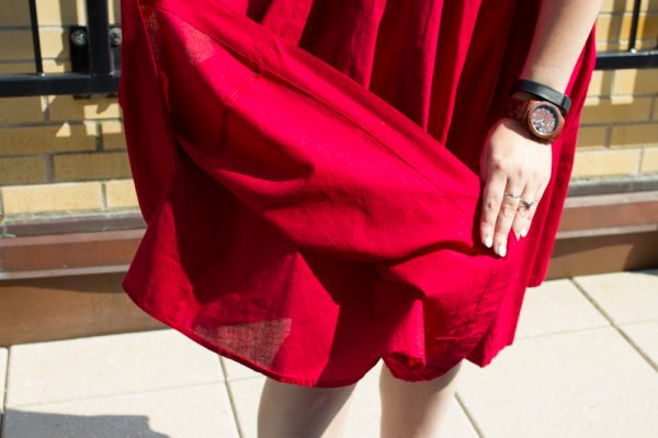 The skirt is fully lined with another thin layer of red cotton, which helps give it fullness.