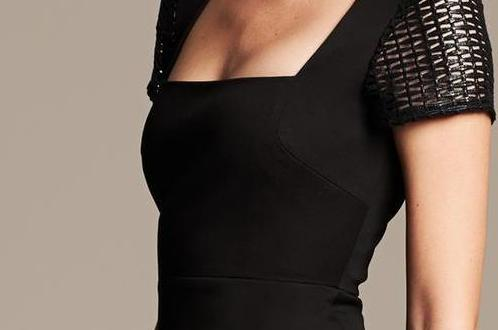 closeup of bust seam roland mouret lace sleeve sheath