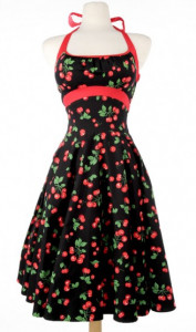 Pinup Girl Clothing's Daisy dress in black cherries print.