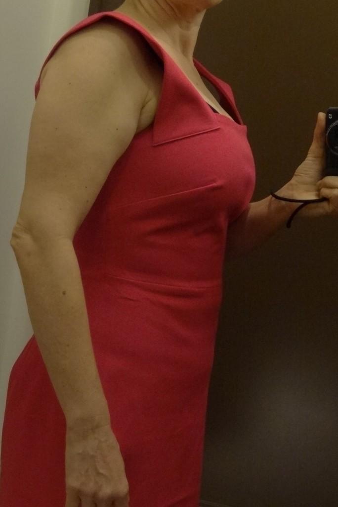 bust friendly? roland mouret pink strappy sheath side 1