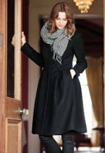 Full Skirt Coat in Black $213.27