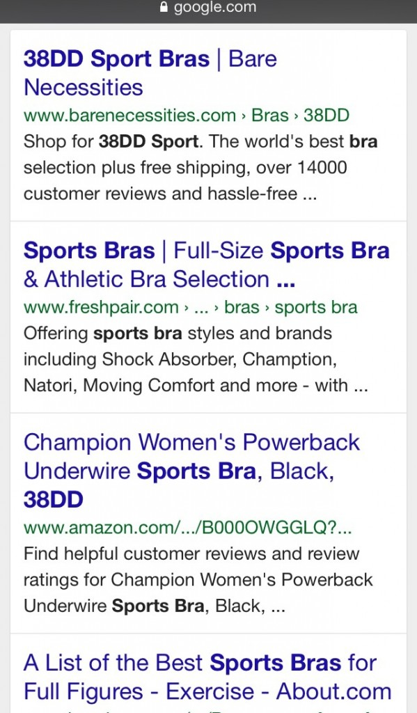 google 38DD sports bra options