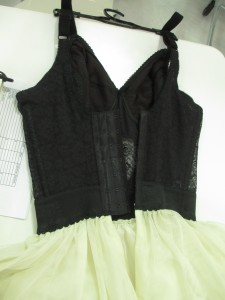 The waist features a wide elastic band and the back has three columns of hooks and eyes.