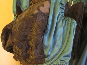 A closeup of the Augusta's art nouveau-inspired embroidery.