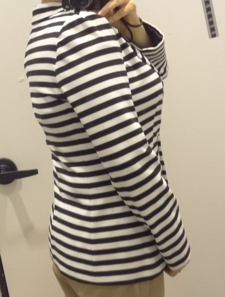 big bust friendly stripe blazer express back