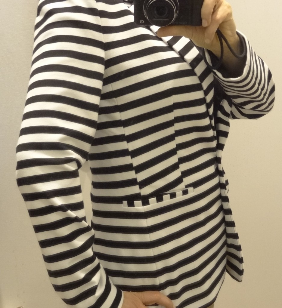 big bust friendly stripe blazer express front side closeup
