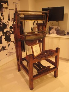 A replica of an 1878 Kretz Establishment loom, which was used to manufacture one of the first elastic knitted fabrics in the world.