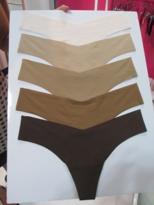 From top: Light nude, true nude, dark nude, caramel (new for Spring 2016), and mocha (there are also white and black not shown here).