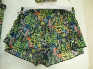 The Strawberry Fields collection includes a plunge balcony bra, padded half-cup bra, camisole; brief, short, and thong panties; and lounge shorts, shown here. I love the lounge shorts!! Too bad they're completely sheer. I can't do shorts if they aren't appropriate to wear while walking my dog.