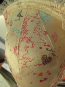 "I also must point out the map of the UK on the Betty ""Brighton Rocks"" print. The little pink heart in the middle of the country is where Tutti Rouge headquarters are located!"