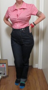 Wearing it tucked into my beloved Freddy's jeans.