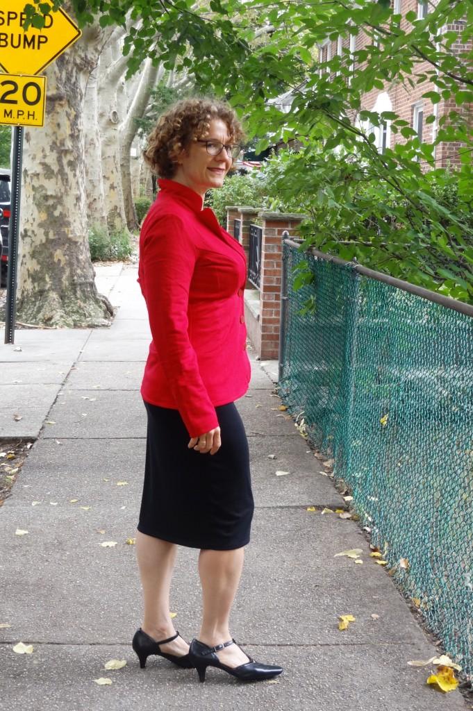 urkye red blazer black dress side