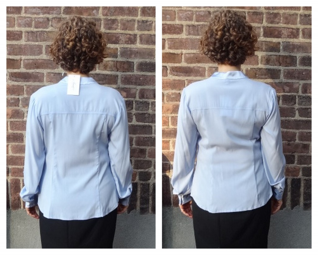 more front room silk blouse S XS back comparison