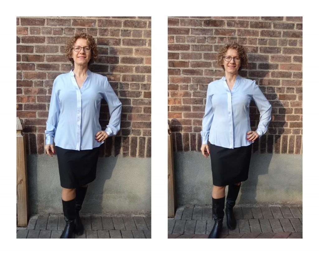 more front room silk blouse S XS comparison