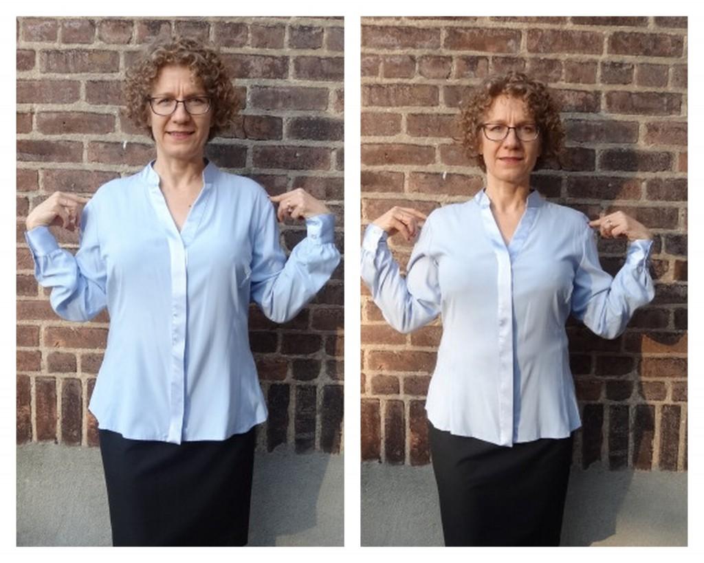 more front room silk blouse S XS shoulders comparison