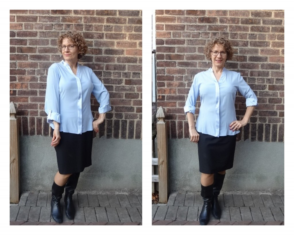 more front room silk blouse XS sleeve rollup comparisons