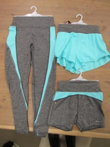 Look at all the matching bottoms! Left: running tights with a nice, wide waistband; upper right: loose running shorts with inner briefs; bottom right: fitted shorts.