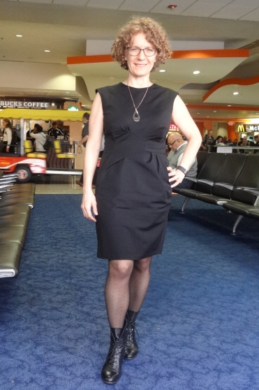 miriam baker black dress front boots no pockets airport