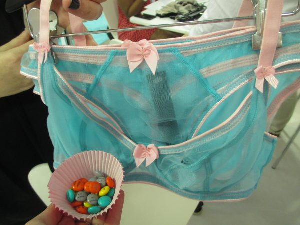 Finally, I just had to snap a shot of the Dessous bra next to the custom M&M's Claudette was handing out—the M&M's and the cupcake wrapper match the new Dessous colors perfectly!