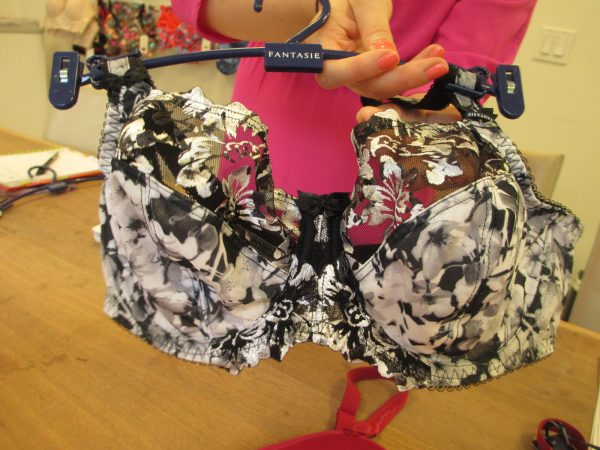 """I love black and white prints and digital floral prints, and the Abby side-support bra in """"Monochrome"""" combines both! (Starting at 30, up to H)"""