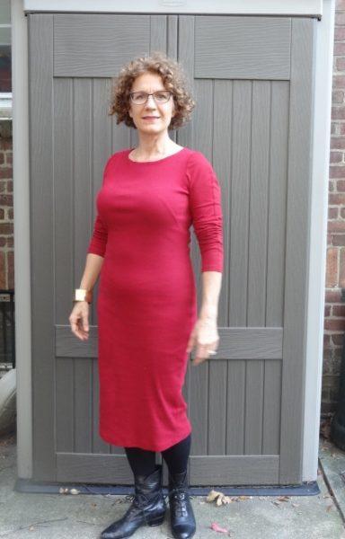 big-bust-red-dress-black-booties-rolled-sleeves