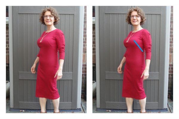 big-bust-red-dress-french-dart-highlight